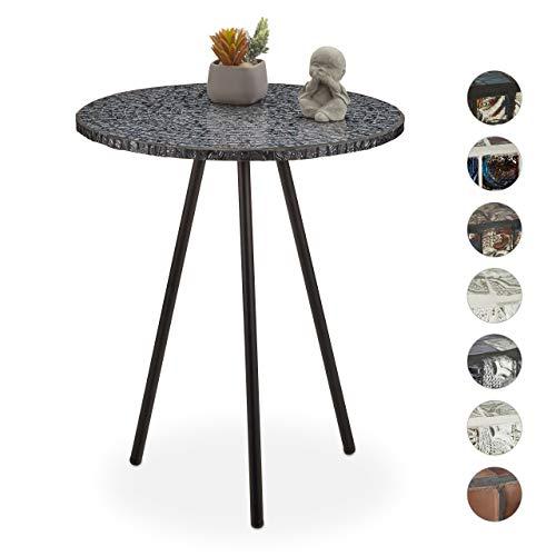 Relaxdays Mozaïek bijzettafel, ronde siertafel, handgemaakt unicum, 3 poten, mozaïektafel, HxD: 50 x 41 cm, zwart