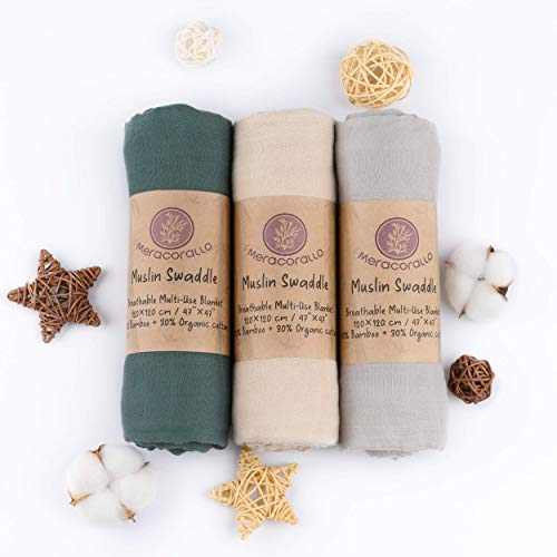 Meracorallo Muslin Swaddle Blanket Silky Soft Receiving Blanket Neutral Swaddle Wrap for Baby Boys and Girls, 47 x 47 inches, Set of 3 Solid Color (Green+Beige+Gray)