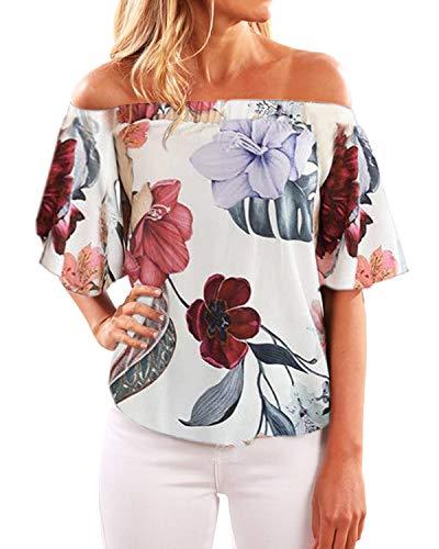YOINS Off Shoulder Top Tunika Damen Bluse Elegant Schulterfrei Oberteil für Damen Blumenmuster-01 EU48