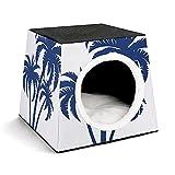 Casa portátil para Mascotas de Interior,Tienda de campaña,Suministros para Mascotas,Isla Tropical de Trama de Palma Azul en Dibujos Animados de Silueta,Cachorro o Gato