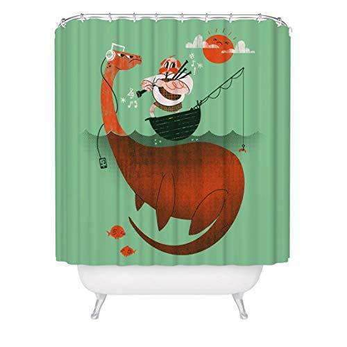 prz0vprz0v Kinder Duschvorhang, Loch Ness Monster Duschvorhang, Nessie Duschvorhang, 180,9 x 182,9 cm Duschvorhang, lustige Schlange Vorhang, nautische Themen-Badezimmer-Dekoration