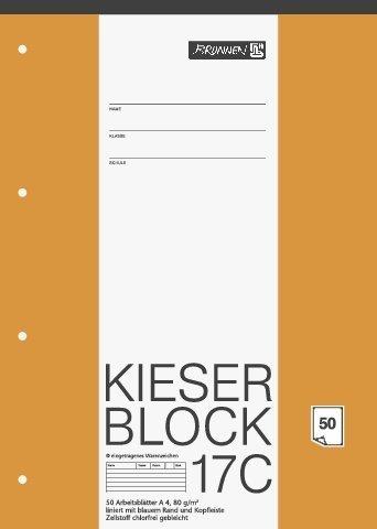 papieto Kieserblock/Schreibblock KIESER (Din A4-50 Blatt / 4-Fach gelocht) LINEATUR FREI WÄHLBAR (Lineatur 17C)