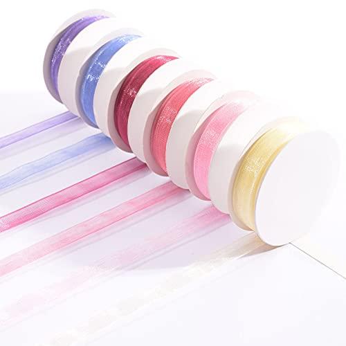 Vaessen Creative Set de Cinta Organza, Baby Pink, Mix de 6 Colores, Bordes Tejidos para Hacer Tarjetas, Scrapbooking, Envoltorios, Regalos para una bebé y más Manualidades, Rose, 6mm x 2m, 6