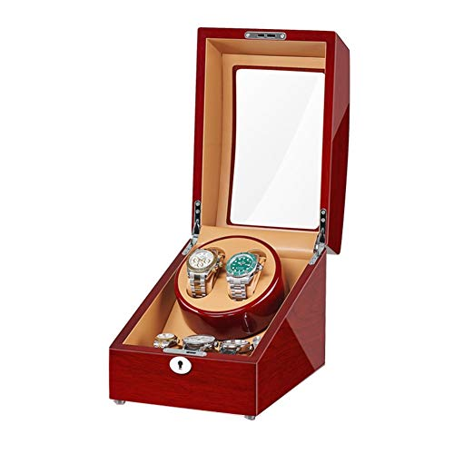 Jlxl Caja Enrolladora Reloj 2 + 3 Enrollador Automático Relojes Adaptador Y Batería Acabado Piano Madera Motor Silencioso Accesorios (Color : G)