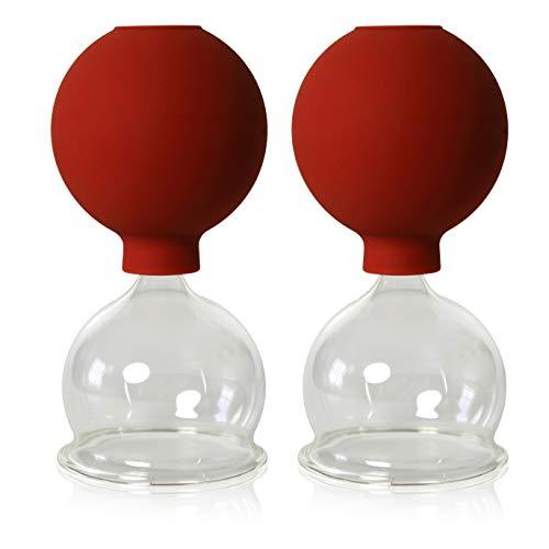 Lot de 2 cloches en verre avec boule 55 mm pour professionnels, medizinschen, feuerlosen ventouses, ventouse, cloches en verre, lauschaer verre original