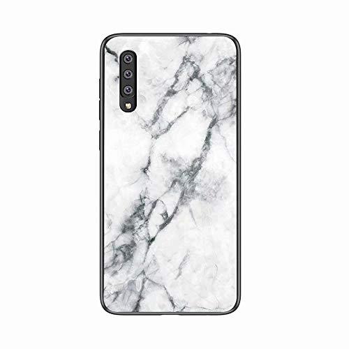 Miagon Glas Handyhülle für Huawei P30,Marmor Serie 9H Panzerglas Rückseite mit Weicher Silikon Rahmen Kratzresistent Bumper Hülle für Huawei P30,Weiß
