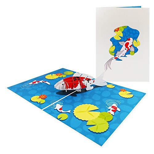 Fisch Pop Up Karte Geburtstagskarte Tiere Glückwunschkarte Aquarium See Maritim Ocean - Koifisch 182