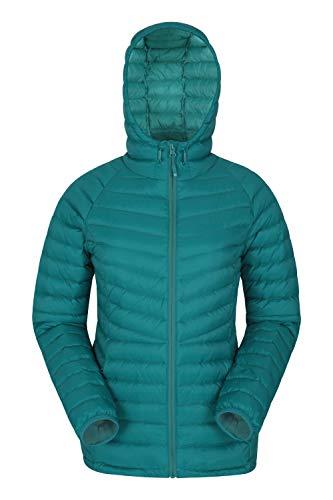 Mountain Warehouse Skyline hydrophobe Damen-Daunenjacke - Wasserabweisende Winterjacke, isolierte Pufferjacke, verstellbar - für Winter, Reisen & täglichen Gebrauch Blaugrün 32