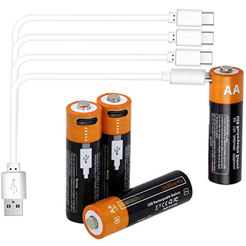 Rechargeable Batteries AA Uzone Rechargeable 2600mWh Battery with Type C Port, 1.5V AA Lithium ion Rechargeable Battery with Type C USB Charging Cable & Storage Cases, Pre-Charged - Pack of 4