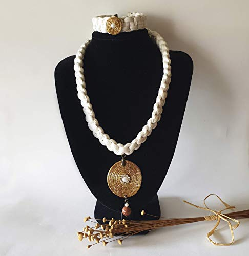 Gargantilla Medallón ORO VEGETAL y trapillo trenzado con pulsera a juego - Strass tipo Swarovski y piedra natural - Hecho a mano