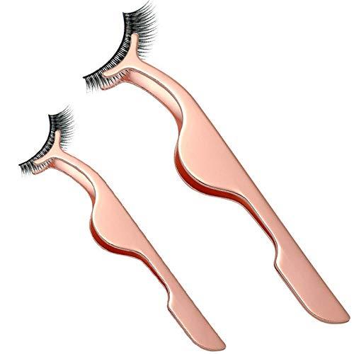 2pcs Recourbe Cils Auxiliaire Recourbe-Cils Pince de Cils Portatif Outils de Maquillage Professionnels Or rose