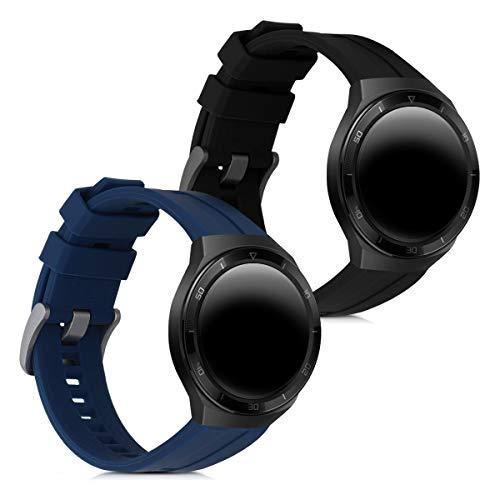 kwmobile 2X Pulsera Compatible con Huawei Watch GT 2e - Brazalete de Silicona Negro/Azul Oscuro sin Fitness Tracker