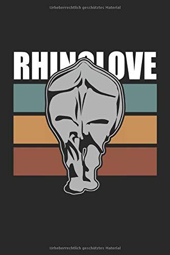 Notizbuch Rhinolove: Weißes Papier I 120 Seiten I Liniert I Kladde I Notizheft I Skizzenbuch I Rhinozeros I Dickhäuter I A5