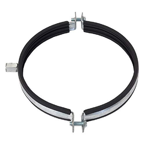 Abrazadera de tubo para conducto en espiral, 250 mm, incluye goma amortiguadora de EPDM – Junta de soporte de tubo ventilador