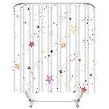 Set di tende da doccia vacanze Stelle colorate e astrazione di punti in Tessuto Vintage in Poliestere acquerello con 12 ganci impermeabili lavabili 12 asole per bagno