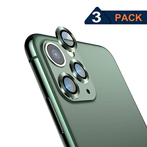 Nillkin iPhone 11 Pro Camera Lens Protector Glass,3 PCS HD Tempered Glass Metal Full Coverage Protection Ring Film for iPhone 11 Pro/iPhone 11 Pro Max, Anti-Scratch, Anti-Dust, Midnight Green