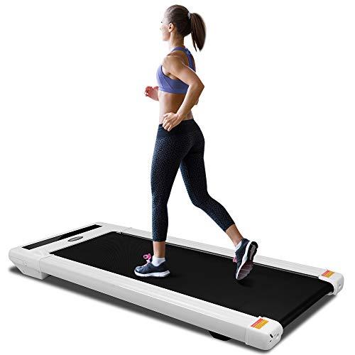 ONETWOFIT Tapis roulant Piatto da Ufficio con Display a LED, Telecomando Senza Fili e App Bluetooth, Regolazione della velocità, Macchina da Jogging per casa/Ufficio Cardio Fitness OT131