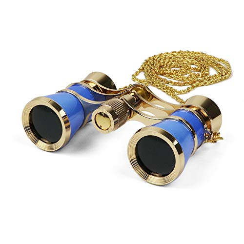 Kingscope 3X25 Vintage Opera Glasses Binoculars for Theater Musical Concert (Blue, with Chain)