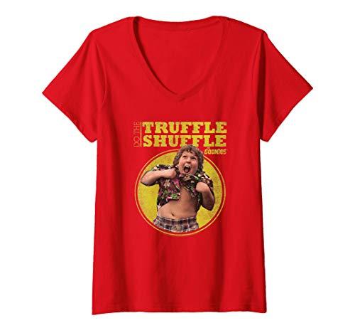 Women's Chunk Truffle Shuffle Red V-Neck T-Shirt, S to 2XL