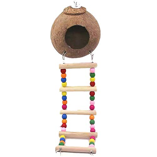 QingMing Bird House with Ladder , Bird Nest Coconut Shell Nest Natural Coco Hideaway with Ladder Bird Toy for Parakeets Budgerigar and Small Pet , Bird Hides Coconut Nest with Ladder Wood Ladder