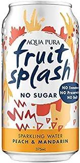 Aqua Pura Fruit Splash No Sugar Sparkling Peach and Mandarin Purified Australian Water, 30 x 375ml