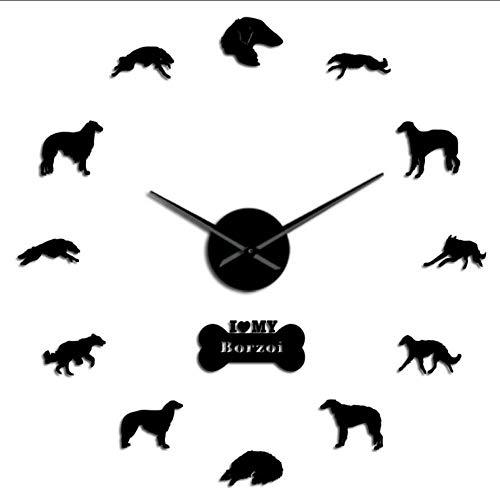 mubgo Wanduhren Schwarz DIY Spiegel Aufkleber Zahlen Moderne Wanduhr Russischer Wolfshund Rahmenlose Große Wanduhr Russischer Hund Windhund Geschenk 47Inch