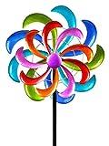 Flor de carillón de viento del molinete como enchufe de jardín hecho de metal azul, verde, morado y rojo con una longitud de 166 cm de diámetro 50 cm