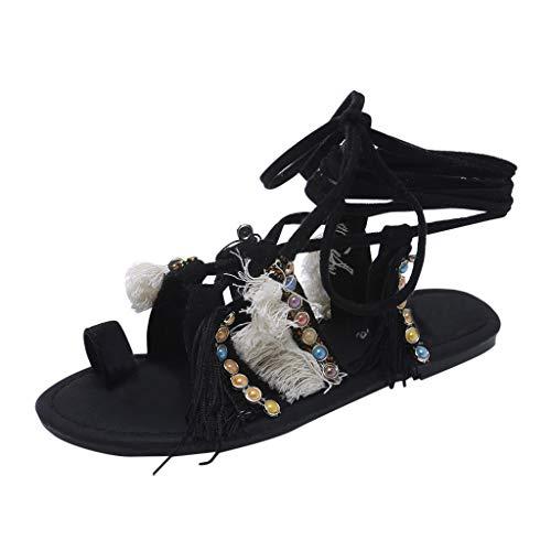 Sandalen Damen Mode Casual Fringe Multi-Strap Crisscross Schnürschuhe (39,Schwarz)