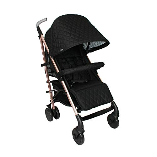 My Babiie Faiers MB51 Rose Gold Black Quilted Stroller, Sturdy & Protective, Lightweight Frame, Comfort, Manoeuvrability, Suitable from Birth to Maximum 22kg, with Cup Holder, Rain Cover and Footmuff