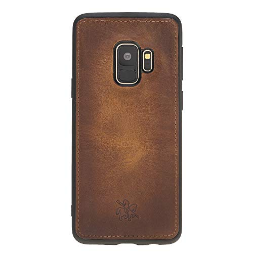 Venito Lucca Leather Case Compatible with Samsung Galaxy S9 w/Snap-On Padded Back Cover - Handcrafted Premium Leather Case - Antique Brown