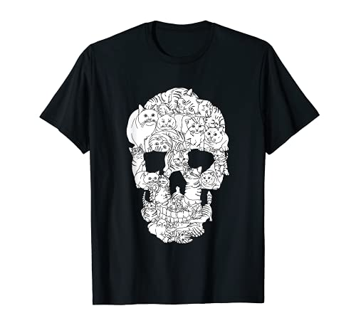 Cat Skull Halloween Funny Goth Punk Emo Graphic Gift T-Shirt