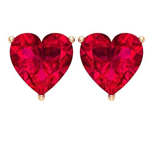 Pendientes de piedra preciosa en forma de corazón de 6 mm, pendientes de oro vintage, aretes de corazón de oro, aretes de rubí creados en laboratorio (calidad AAAA), rosca trasera rojo