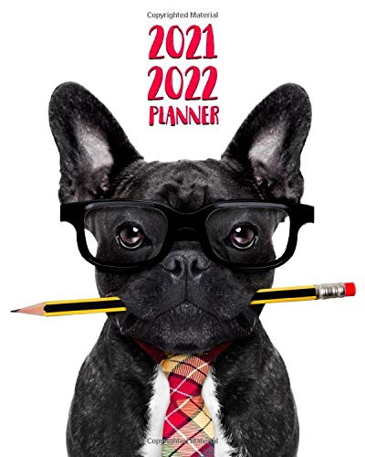 2021-2022 Planner: Frenchie Dog Businessman Two Year 24-Months Weekly Planner Agenda Calendar Organizer with Useful Features