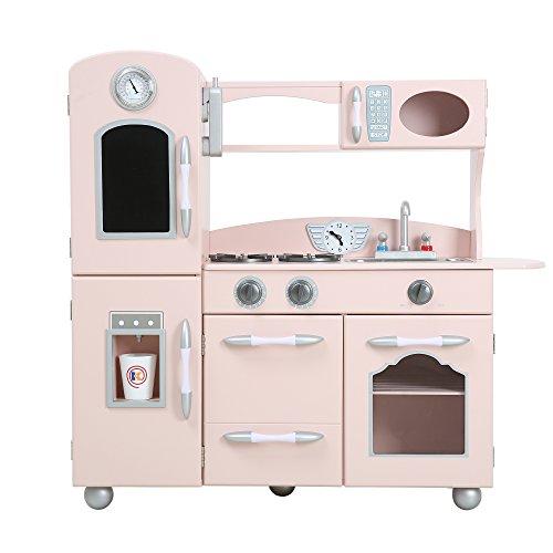 Teamson Kids Pink Westchester Retro Wooden Kitchen Toy Kitchen With Ice Maker UK-TD-11414P