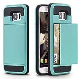サムスンギャラクシーS9プラスケース、アーマースライドクレジットカードスロットウォレット電話ケースソフトTPUショックプルーフカバー(表示画面6.2インチ)