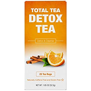 Detox products Total Tea Caffeine Free Detox Tea – All Natural – Slimming Herbal Tea for Gentle Cleansing – 25 Tea Bags