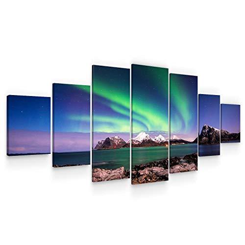 Startonight Grande Quadro su Tela Aurora boreale, Stampe Incorniciato e Pronta da Appendere Design Moderno Arredamento Arte Fotografia Formato XXL Multipannello di 7 Parti 100 x 240 CM