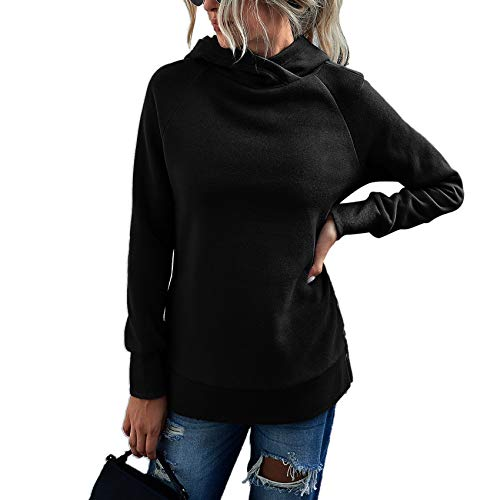 LaiYuTing Dames Herfst en Winter Mode Casual Effen Kleur Trui Dames Hooded Trui - zwart - 5XL