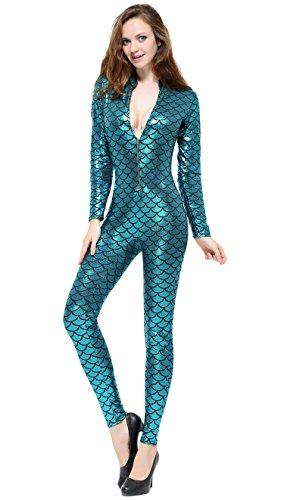 Lotsyle Fish Scale Printing Bodysuit Women Long Sleeve Costumes Sexy Unitard Emerald One Size