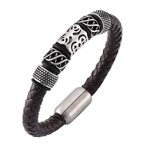 Bracelet Cuir Femme Manchette,Bracelet en Corde De Mode en Cuir Classique Marron À La Main Tressé Manchette Bracelet Bijoux Gravé Argent Fermoir Poli pour Femmes Hommes Couple Cadeau