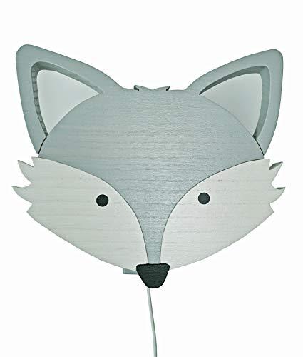 Clevere Kids Kinder Wandlampe Alle Meine Tiere Holz Handarbeit A++ (Fuchs hellgrau)