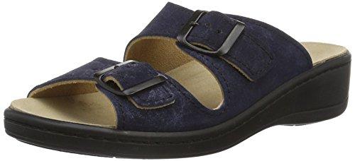 Weeger Orthopädische-Pantolette mit auswechselbarem Fußbett blau metallic Gr. 39