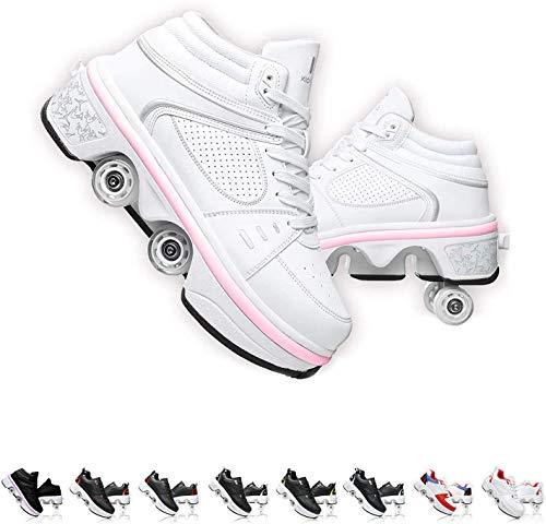 SHHAN Unisexo Patines Doble Fila Zapatos De Deformación Ajustable Patio Multiusos 2 En 1 Patín En Línea Botas,Silver led,39