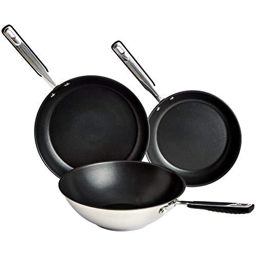 AmazonBasics 3-delig set roestvrijstalen inductie-koekenpannen en wok, 24 cm, 28 cm koekenpan en 28 cm wok, anti-aanbaklaag, met zachte handgreep