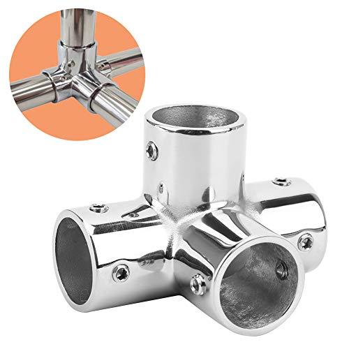 Handlaufbeschlag, 25 mm Handlaufbeschlag aus Edelstahl 316, runder Sockel 4-Wege-Handlaufbeschlag, für die schnelle und einfache Installation von 25 mm Innendurchmesser