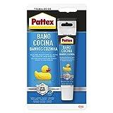 Pattex Baño y Cocina, silicona transparente resistente al moho, sellador impermeable para...