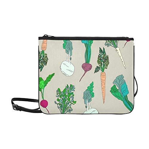 WYYWCY Garten Karotten Kohl Andere Gemüse Muster Benutzerdefinierte hochwertige Nylon Slim Clutch Bag Cross-Body Bag Umhängetasche