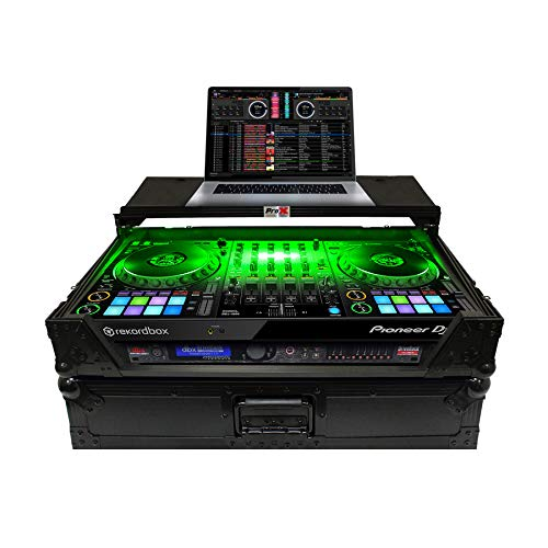ProX XS-DDJ1000 WLTBL LED Flight Case for Pioneer DDJ-1000 & DDJ-1000 SRT Digital Controller with Bright LED Lights, Sliding Laptop Shelf and Durable Wheels – Black on Black Design