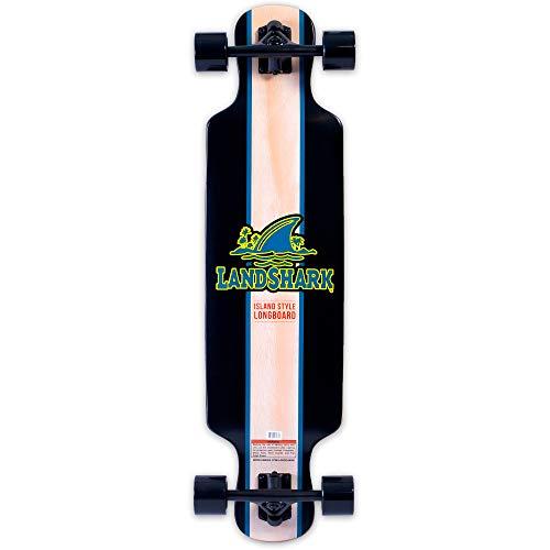 Landshark Island Style Longboard Skateboard, Black, One Size