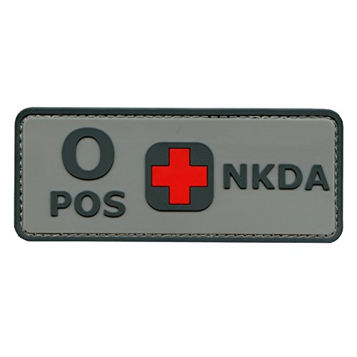 2AFTER1 Blood Type NKDA ACU PVC Rubber 3D Fastener Patch Combat Tactical No Drugs Allergies